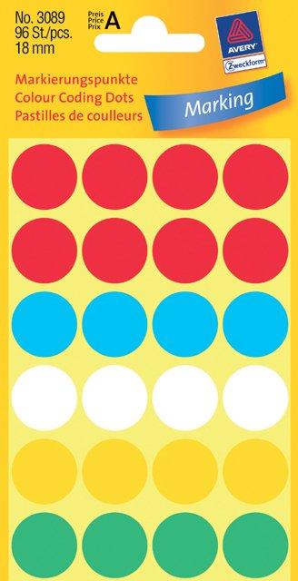 Avery Zweckform Markierungspunkte 18mm, farbig sortiert