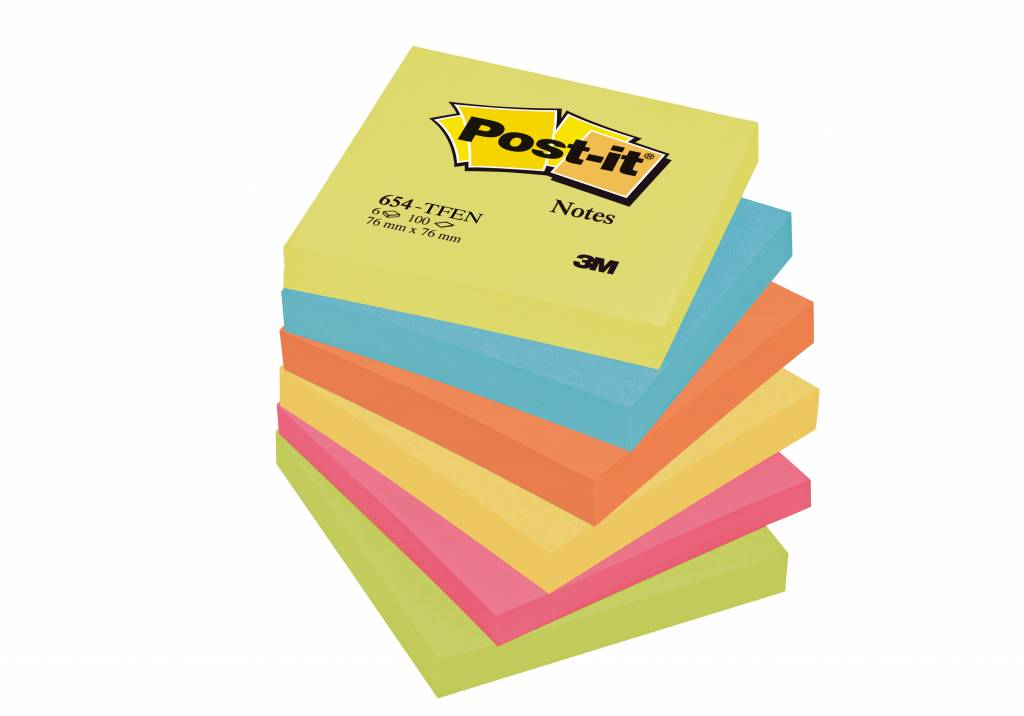 Post-it Haftnotizen Rainbow Active, 76 x 76 mm, 6x 100 Blatt