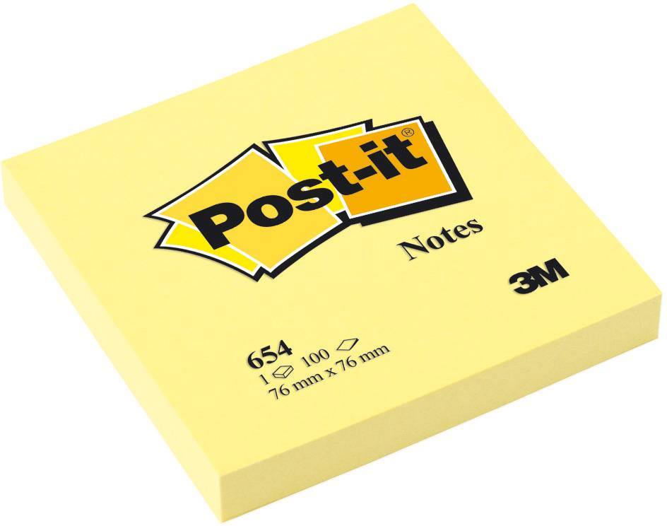 Post-it Haftnotizen gelb, 76 x 76 mm, 12x 100 Blatt