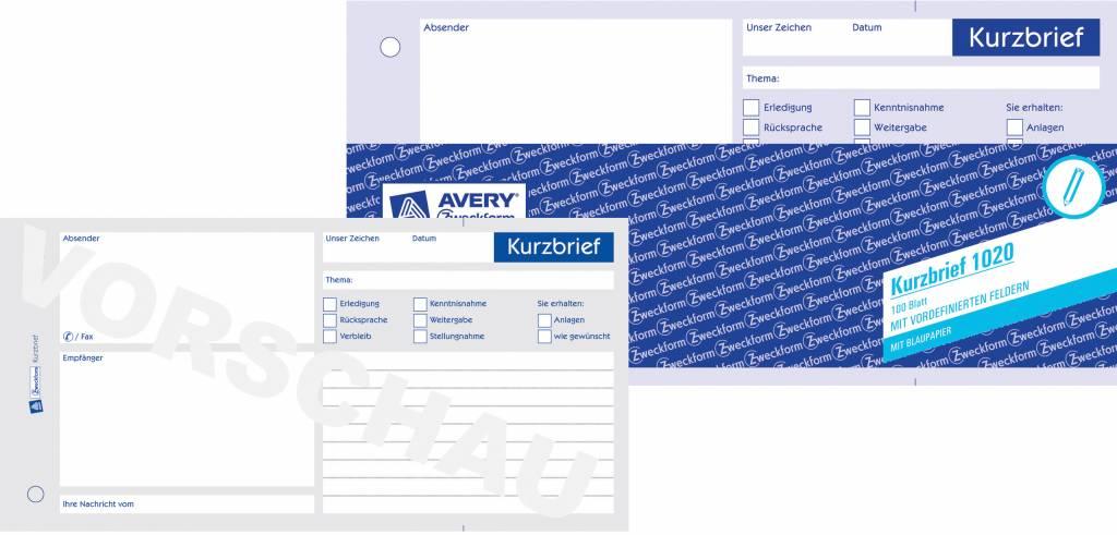 Avery Zweckform Kurzbrief 1/3 DIN A4 100 Blatt