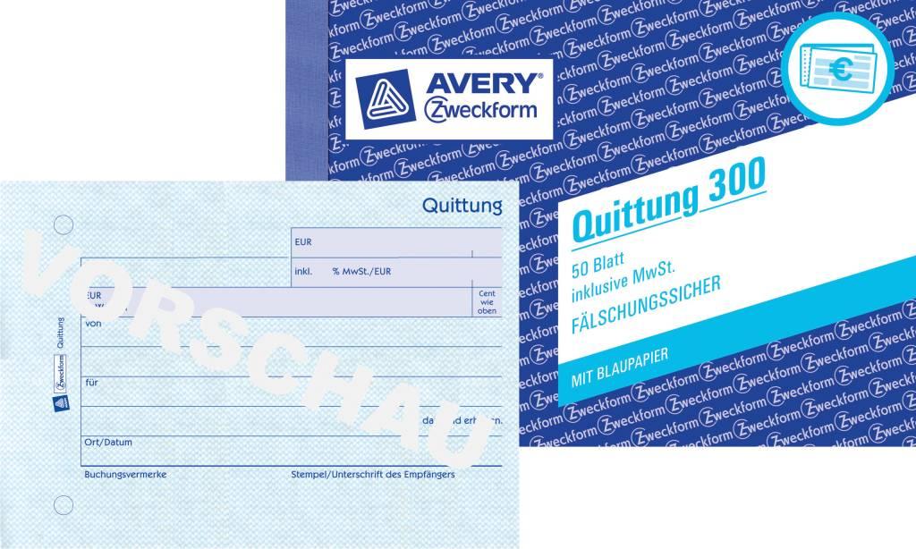 Avery Zweckform Quittung DIN A6 quer 50 Blatt, 1 Durchschlag, 1 Blaupapier, inkl. MwSt.