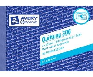 Quittung AVERY Zweckform 00321 A6 Quer 2 x 50 Blatt Weiß Blaupapier D//A