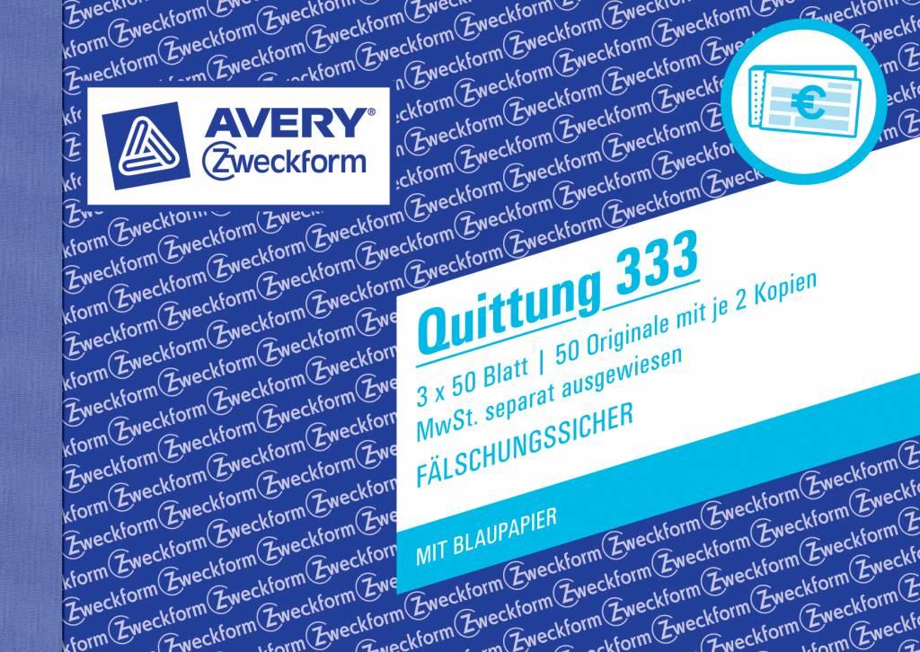 Avery Zweckform Quittung DIN A6 quer 3 x 50 Blatt, 2 Durchschläge, 2 Blaupapiere, MwSt separat ausweisbar