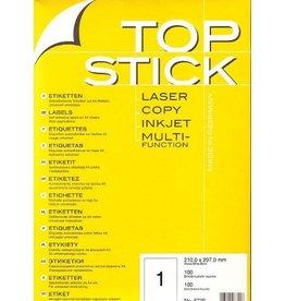 TOP STICK Etiketten 210 x 297 mm DIN A4 100 Blatt Packungen