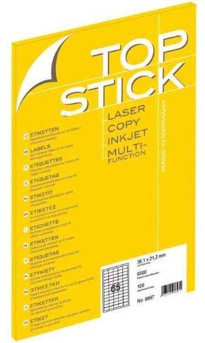 TOP STICK Etiketten 38,1 x 21,2 mm DIN A4 100 Blatt Packungen