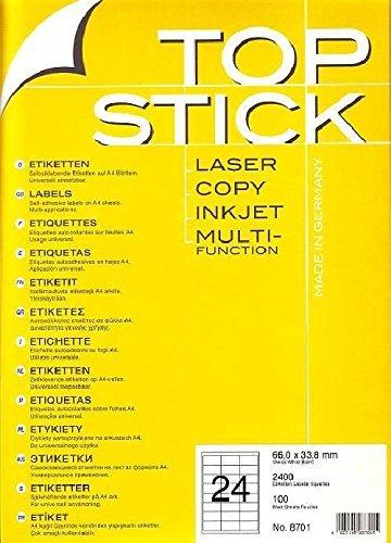 TOP STICK Etiketten 66 x 33,8 mm DIN A4 100 Blatt Packungen