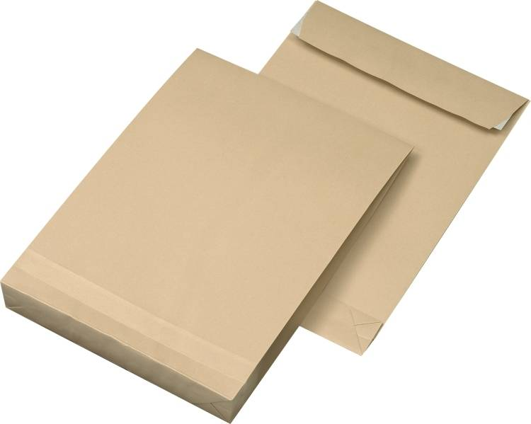 Faltentaschen DIN B4, Farbe: braun 250 St./Pack. 130 g/m²