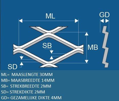 Strekmetaal 30x90cm
