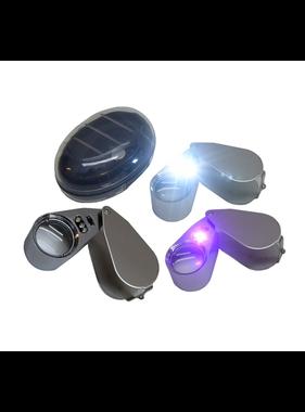 Benson Juweliers loupe / loep 40 x 25mm met LED verlichting  kleur ZILVER