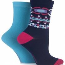 2 Paar stoer blauwe bamboe sokken
