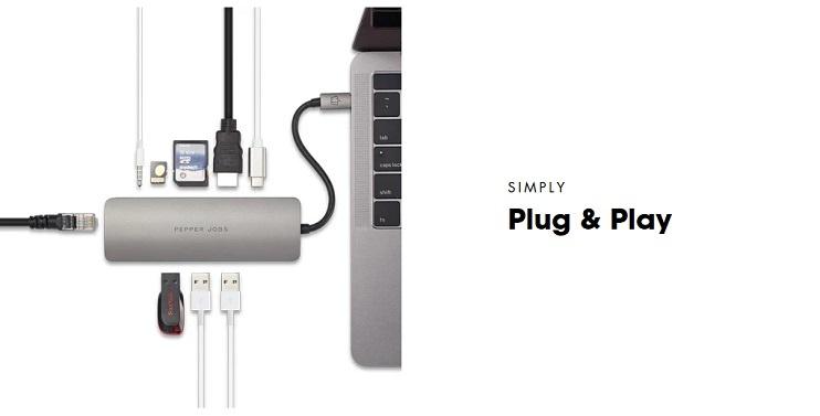 Pepper Jobs TCH-6 USB-C adaptateur hub