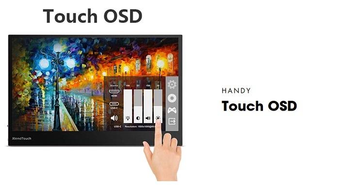 Pepper Jobs XtendTouch XT1310F ist ein DC-betriebener tragbarer Touchscreen-Monitor.