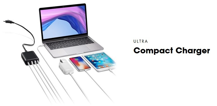 Il caricatore da 4 porte Dual USB-C PD PD9000 di PEPPER JOBS  incorpora due porte di ricarica USB-C PD 3.0 (60W & 18W, compatibili con QC) e due porte di ricarica USB-A (12W max. totali) in un unico accessorio portatile ultracompatto.