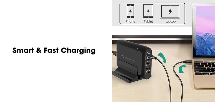 Pepper Jobs PD10000 5-port Dual USB-C PD Charger incorporates two USB-C PD 3.0/PPS charging ports (100W max., QC compatible) and three USB-A charging ports (36W max. total) into one ultra-compact, portable form factor.