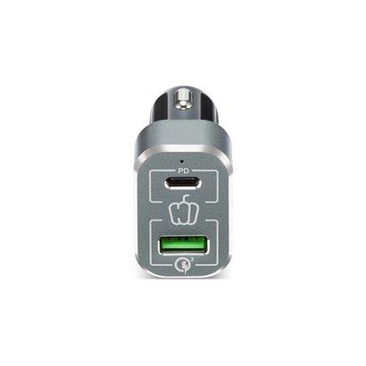 PEPPER JOBS PDQC63W est la prochaine génération de chargeur pour voiture fourni avec un port de chargement Power Delivery (45W) et un port de chargement (18W) certifié QC 3.0.