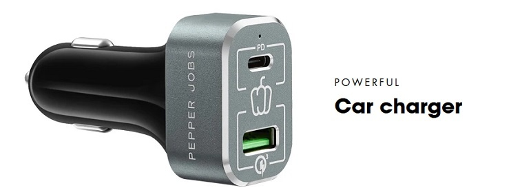 Pepper Jobs PDQC63W is the next generation car charger that comes with both Power Delivery (45W) charging port and a certified QC 3.0 (18W) charging port.