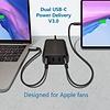 PEPPER JOBS PD9000 Dual-USB-C-Ladegerät mit 4 Anschlüssen und einer Leistung von 60W