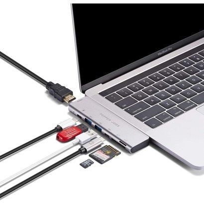 PEPPER JOBS TCH-MBP7 è un doppio hub USB-C 3.1 a USB 3.0 con uscita 4K HDMI, porta di ricarica PD passthrough, lettori di schede SD & TF, porta di dati USB-C e capacità passthrough video/dati 5K TB3.