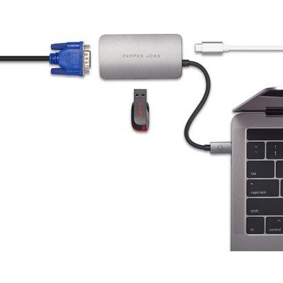 PEPPER JOBS TCH-3 3-IN-1 Space Grey USB-C AV Multipoort hub/adapter met VGA en USB-C laden.