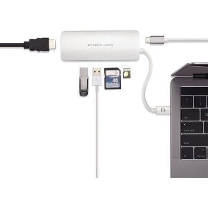 PEPPER JOBS TCH-4 is een USB-C 3.1 naar USB 3.0-hub met een USB-C PD-laadpoort, SD- & TF-kaartlezers en HDMI-output Silver