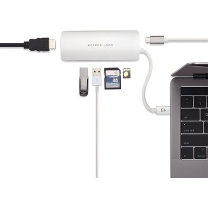 PEPPER JOBS TCH-4 ist ein USB-C 3.1 zu USB 3.0-Hub mit einem USB-C-PD-Ladeanschluss, SD- & TF-Kartenlesern und HDMI-Ausgang Silver