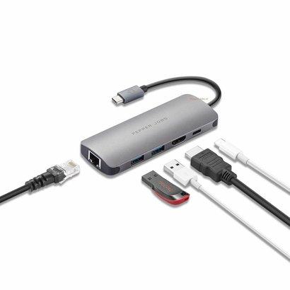 PEPPER JOBS TCH-5 est un appareil USB-C 3.1 à USB 3.0 avec Gigabit Ethernet, un port de chargement USB-C et une sortie HDMI multiport. Gris Sidéral