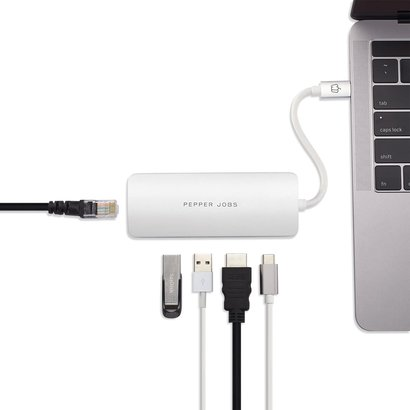 PEPPER JOBS TCH-5 is a USB-C 3.1 to USB 3.0 with Gigabit Ethernet, USB-C charging port and HDMI output multiport hub. Silver