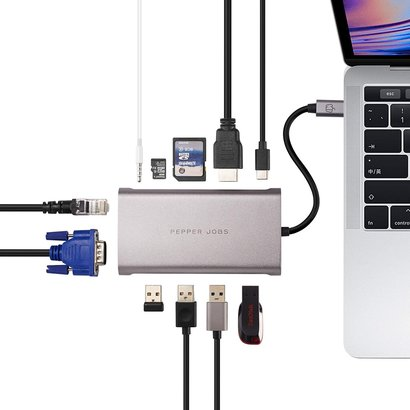PEPPER JOBS TCH-11 is an 11-in-1 multiport USB-C hub / adapter.