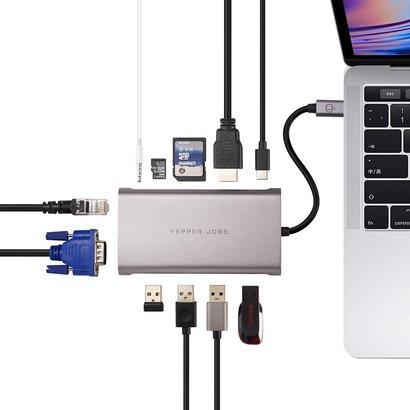 PEPPER JOBS TCH-11 is een 11-in-1 multipoort USB-C hub/adapter.