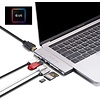 PEPPER JOBS TCH-MBP7 is a dual USB-C 3.1 to USB 3.0 hub with 4K HDMI output, PD passthrough charging port, SD & TF card readers, USB-C data port and TB3 5K video/data passthrough capabilities.