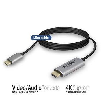 Eminent AB7874 1.8m USB C HDMI Type A (Standard) Zwart, Grijs video kabel adapter