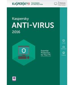 Kaspersky Lab Anti-Virus 2016 Base license 3gebruiker(s) 1jaar