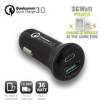 Ewent USB-C Car Charger 18W + USB-A Qualcomm QC3.0 18W black