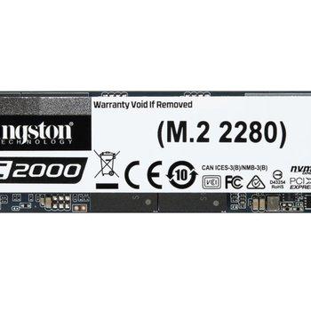 Kingston Technology KC2000 internal solid state drive M.2 500 GB PCI Express 3.0 3D TLC NVMe