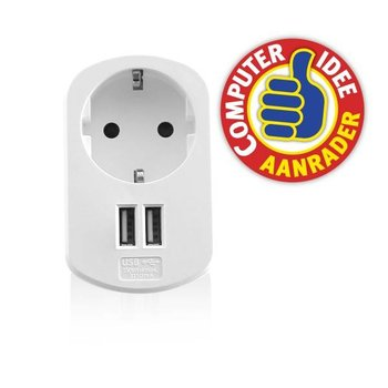 ewent Ewent 2 Poorts USB Lader 3.1A met stopcontact
