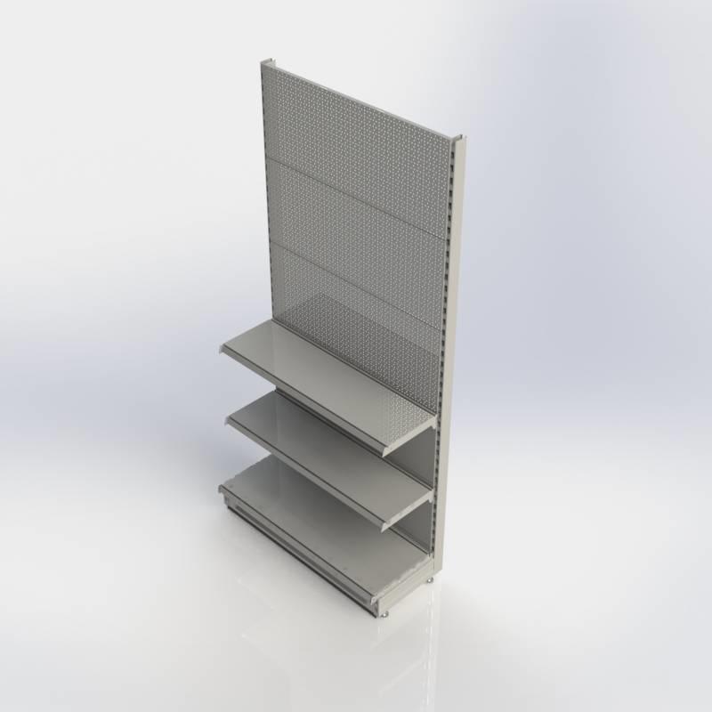 Winkelstelling wandunit met perforatie rugwand en 3 schappen