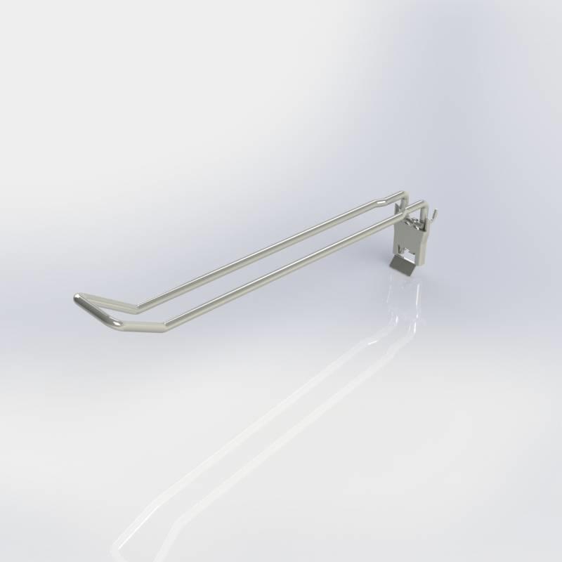 Klaphaak dubbel, blisterhaak voor rugwand met perforatie rond gat en rond met sleutelgat.
