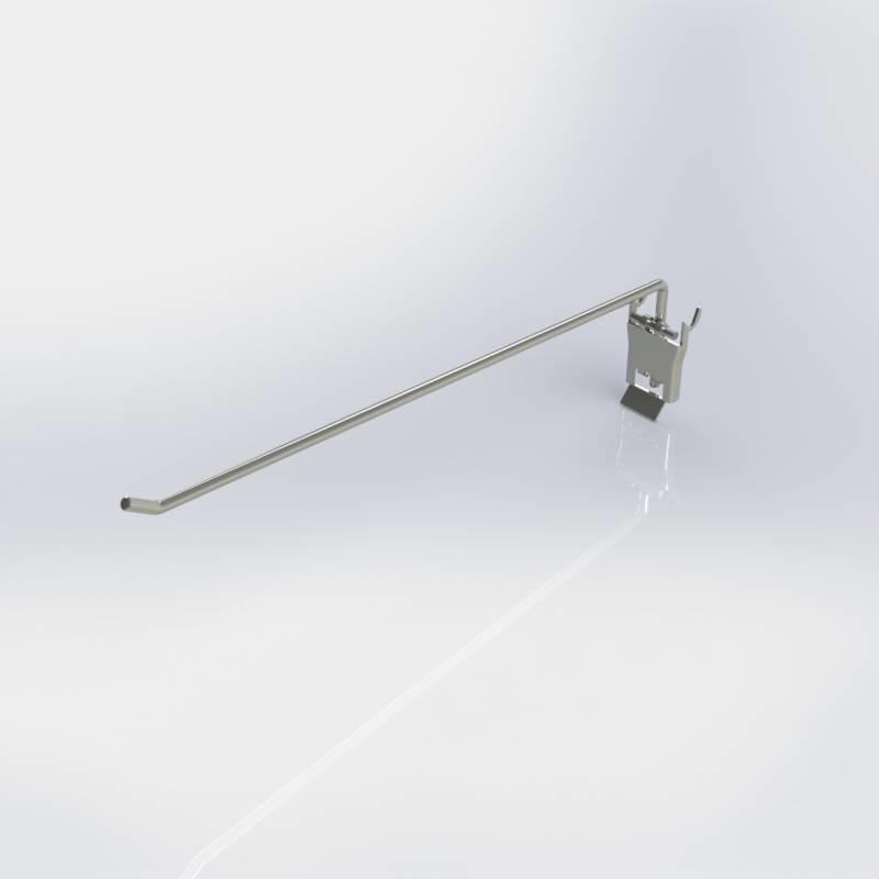 Klaphaak enkele pen, haak voor rugwand met perforatie rond gat en rond met sleutelgat.