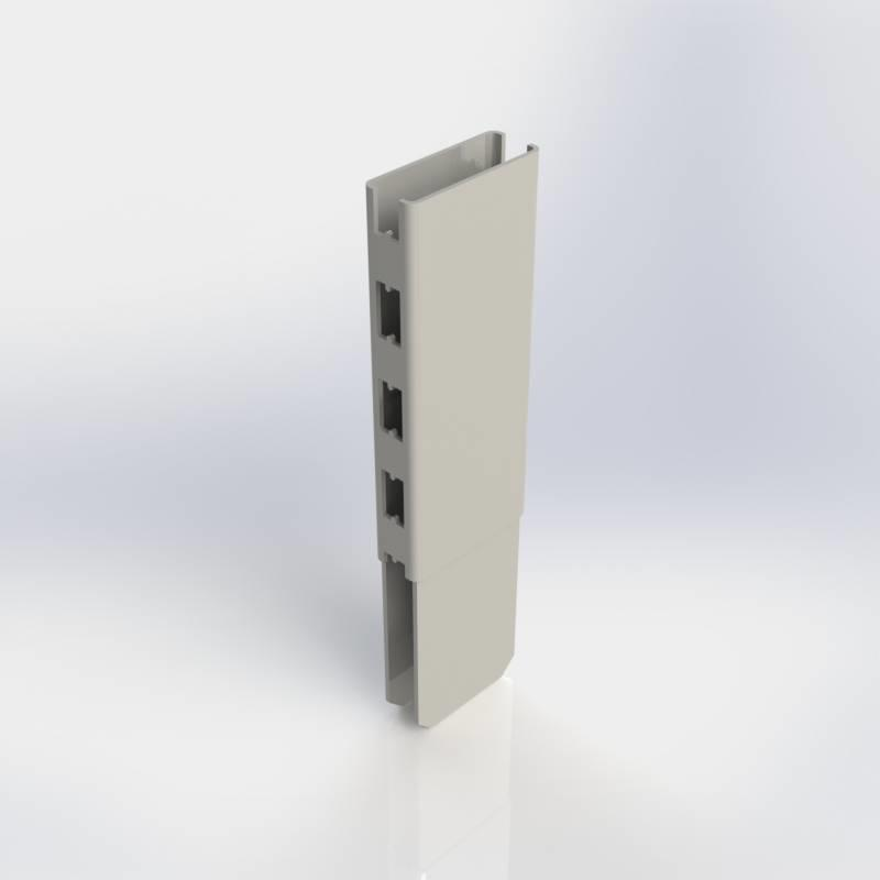 Staander verlengstuk 80 x 30 mm., koker met H-perforatie aan twee zijden.