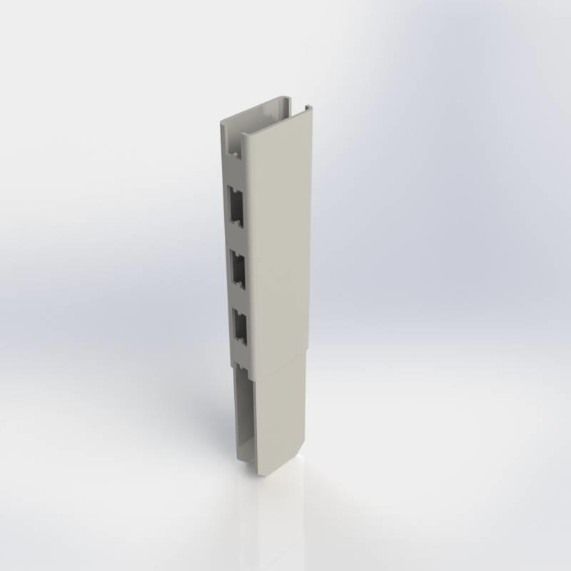 Staander verlengstuk 60 x 30 mm., koker met H-perforatie aan twee zijden.