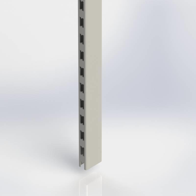Staander 60 x 30 mm., koker met H-perforatie op twee zijden.