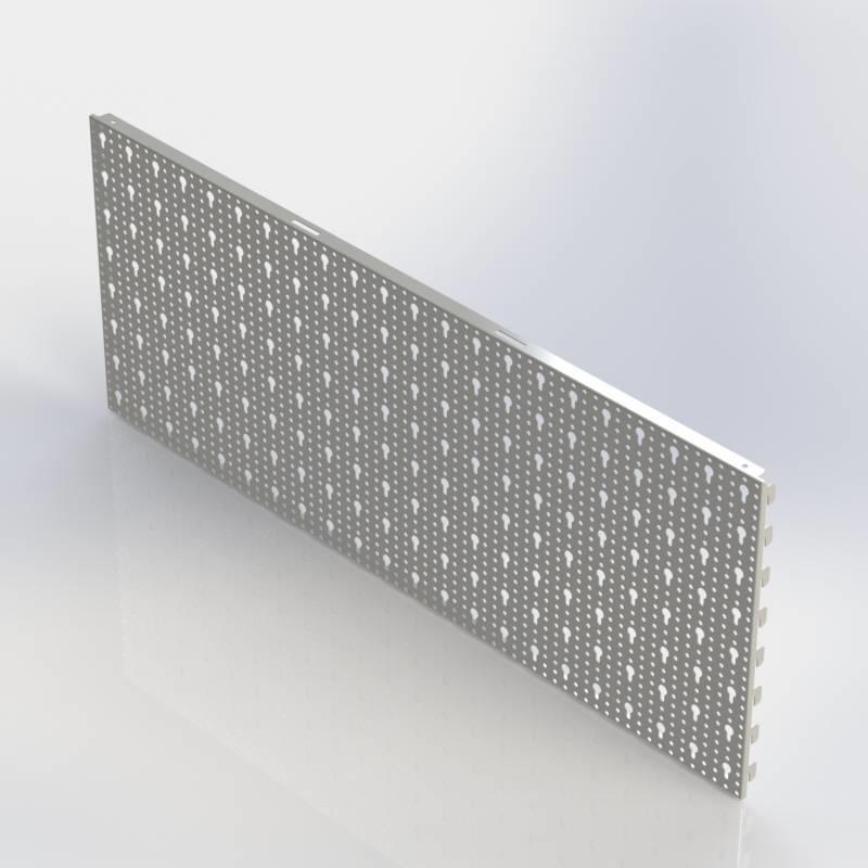 Achterwand rond en sleutelgat (SL), rugwand in te haken in de perforatie van de staanders.