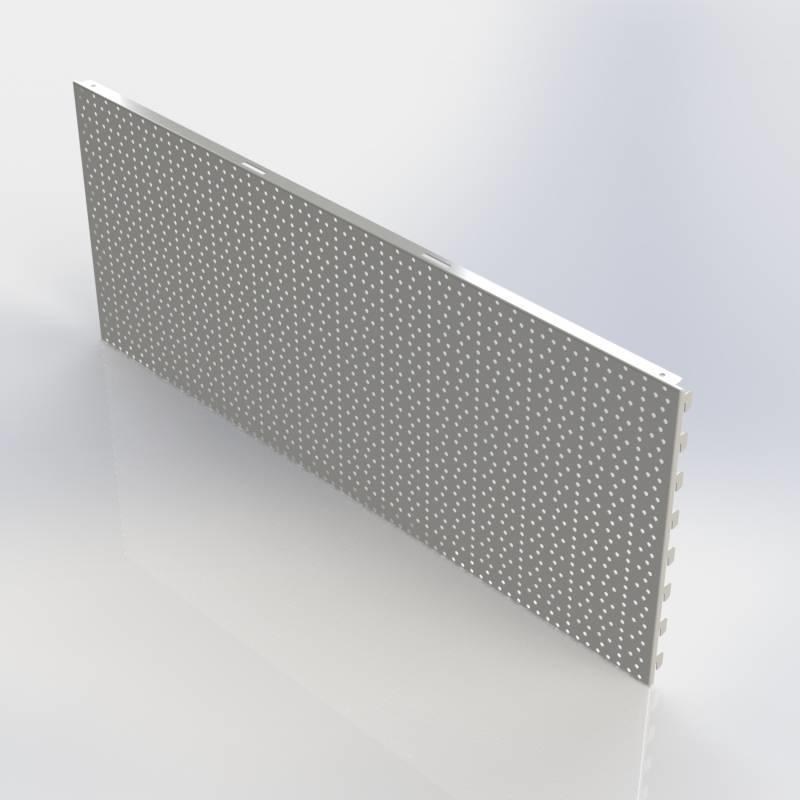 Achterwand rond gat (RL), rugwand in te haken in de perforatie van de staanders.