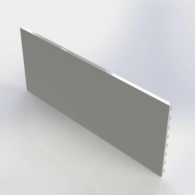 Achterwand glad (GL), rugwand in te haken in de perforatie van de staanders.
