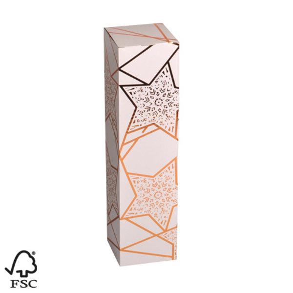 Luxe witte cadeaubox met bronzen sterren