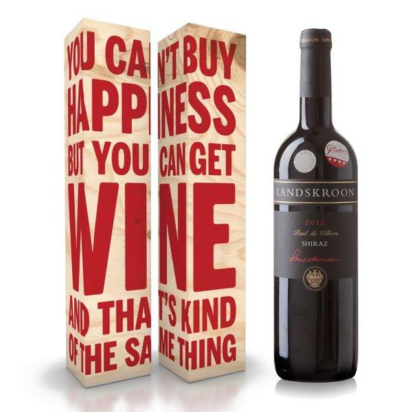 """Fles wijn naar keuze + wijnbox """"you can't buy happiness"""" prijs vanaf"""