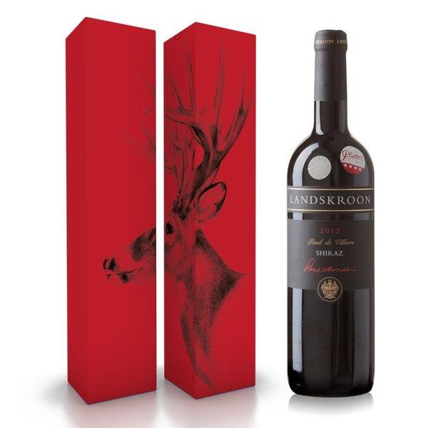 """Fles wijn naar keuze + wijnbox """"rendier"""" prijs vanaf"""
