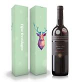 """Fles wijn naar keuze + wijnbox """"Fijne feestdagen"""""""
