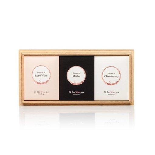 The Real WINE gum Trio winegums  Merlot, Chardonnay & Rosé on wood