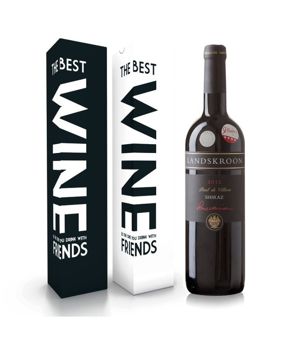 "Wijnbox ""the best wine is the one you drink with friends"""